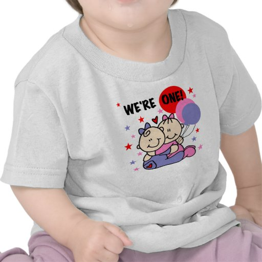 Twins We're One First Birthday Tee Shirts