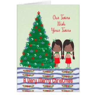 Twins Wishing Twins a Merry Christmas Card