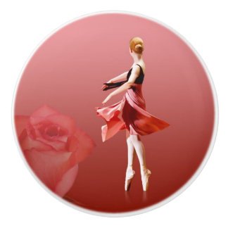 Twirling Ballerina with Red Rose Ceramic Knob