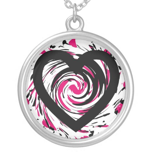 Twirling Black and Pink Heart Necklace