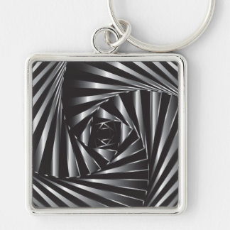 Twisted – Black Steel Silver-Colored Square Keychain