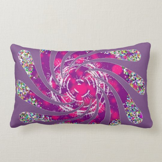 Twisted fan in pink and purple lumbar pillow