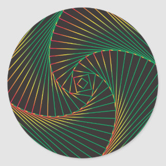 Twisted - Green and Red Classic Round Sticker