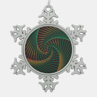 Twisted - Green and Red Snowflake Pewter Christmas Ornament
