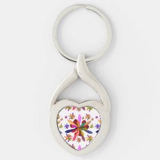 Twisted Heart Keychain with Stylized Flower 1