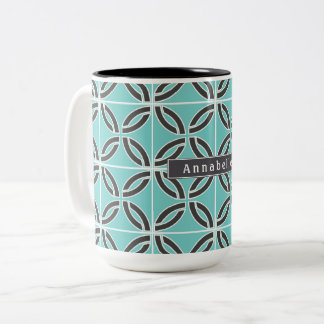 Twisted Lines in Mint and Gray, Add Your Name Two-Tone Coffee Mug