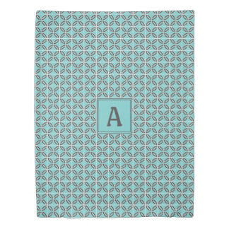 Twisted Lines in Mint & Gray w/ Monogram (2 Sided) Duvet Cover