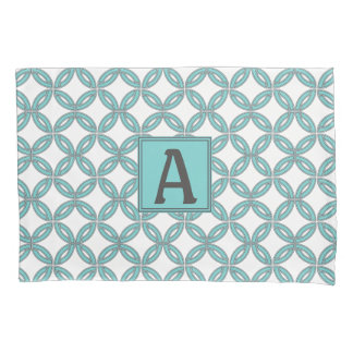 Twisted Lines in Mint & Gray w/ Monogram (White) Pillowcase