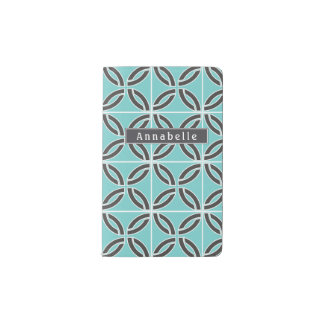 Twisted Lines in Mint & Gray w/ Name Pocket Moleskine Notebook