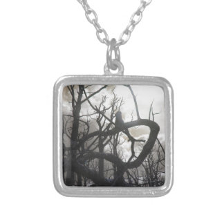Twisted Wood Silver Plated Necklace