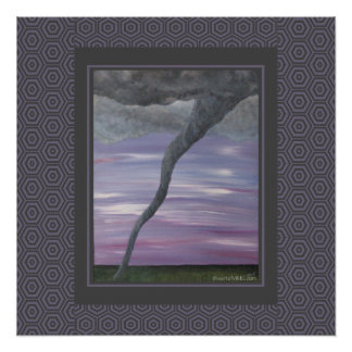 Twister Purple Gray Tornado Funnel Cloud Painting Perfect Poster