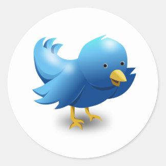 Twitter bird logo classic round sticker