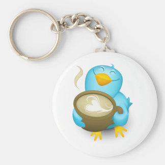 Twitter Coffee Bird Basic Round Button Keychain