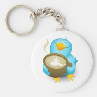 Twitter Coffee Bird Keychain