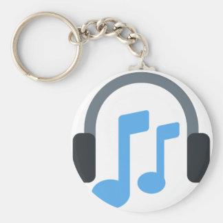 Twitter emoji - Music, Headphone Basic Round Button Keychain