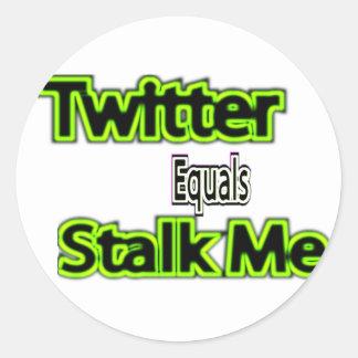 twitter equals stalk me sticker's round sticker