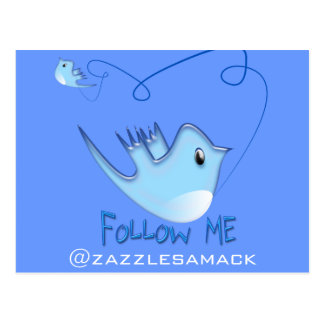 Twitter Gifts With Your User Name Follow Me Birdie Post Card