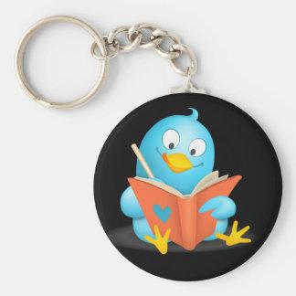 Twitter Mania - Twitter Bird Reading Basic Round Button Keychain