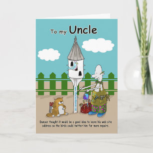 Twitter Me Funny Uncle Birthday Card