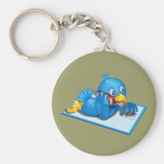 Twitter On The Phone Basic Round Button Keychain
