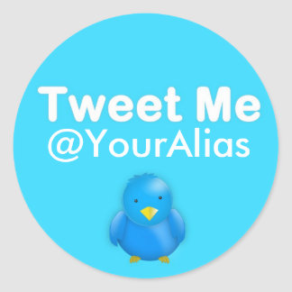 Twitter Sticker: Tweet Me @YourAlias Classic Round Sticker