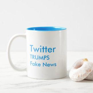 Twitter Trumps Fake News Two Tone Mug