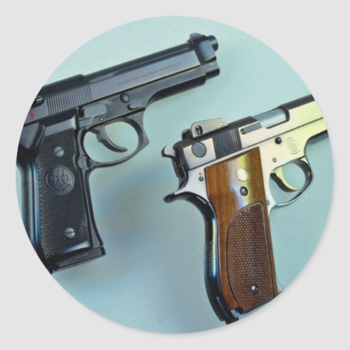 Two .45 caliber automatic guns for gun lovers stickers