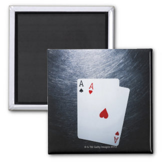 Two Aces Playing Cards on Stainless Steel Magnet