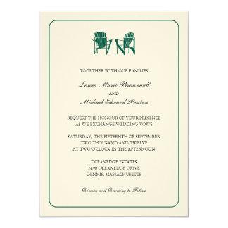 "Two Adirondack Chairs Wedding 4.5"" X 6.25"" Invitation Card"