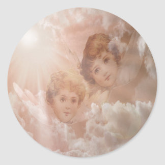 Two Adorable Angels Classic Round Sticker
