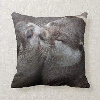Two Adorable Otters Throw Pillow