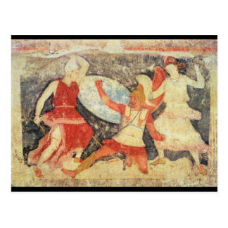 Two Amazons in combat with a Greek Postcard