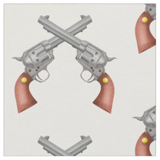 Two American Old West Pistols Crossed Fabric