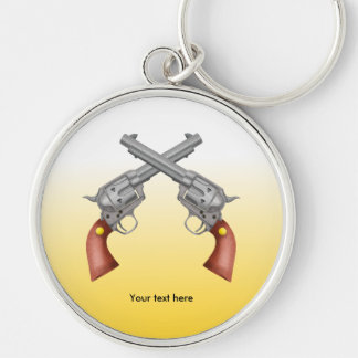 Two American Old West Pistols Crossed Silver-Colored Round Keychain
