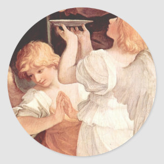 Two Angels, Guido Reni Christian Baroque Fine Art Classic Round Sticker