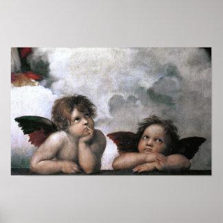 Two Angels Sistine Chapel Raphael Fine Art Poster