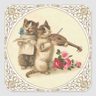 Two Anthropomorphic Kittens Playing Music Square Sticker