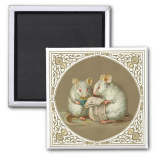Two Anthropomorphic White Mice Reading Paper Square Magnet