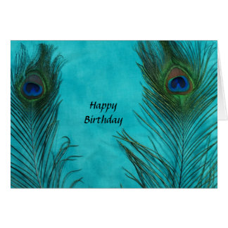 Two Aqua Peacock Feathers Card