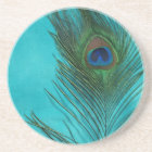 Two Aqua Peacock Feathers Coaster