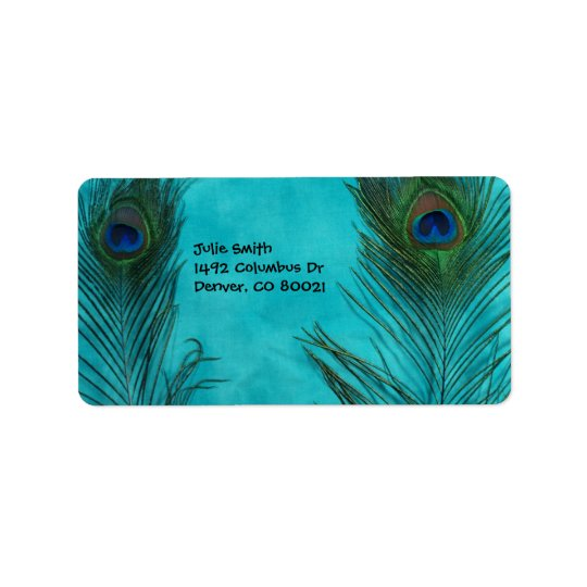 Two Aqua Peacock Feathers Label