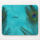 Two Aqua Peacock Feathers Mouse Pad
