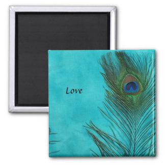 Two Aqua Peacock Feathers Square Magnet