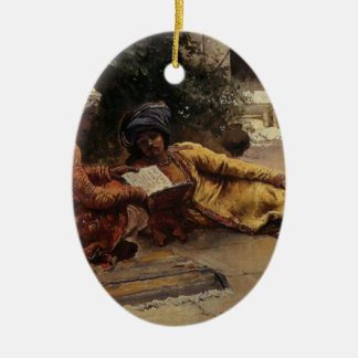 Two Arabs Reading by Edwin Lord Weeks Ceramic Ornament