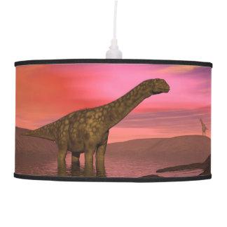Two argentinosaurus dinosaurs pendant lamp