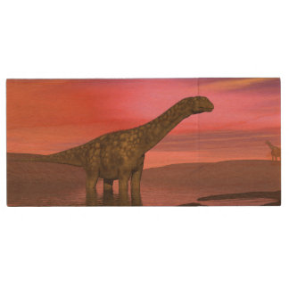 Two argentinosaurus dinosaurs wood USB flash drive