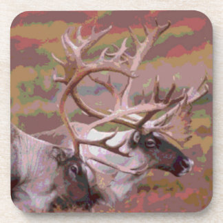 Two artistic caribou scenic wilderness design beverage coasters