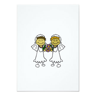 "Two Asian Brides Lesbian 5"" X 7"" Invitation Card"