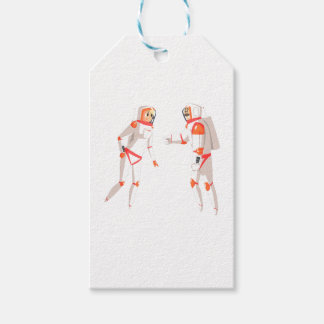 Two Astronauts In Space Suits Chatting On Dark Gift Tags