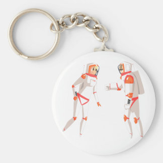 Two Astronauts In Space Suits Chatting On Dark Keychain